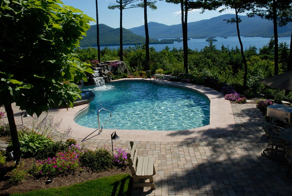 Views of Lake George from your pool and intimate patio