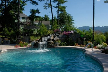 Gorgeous pool with natural stone waterfall